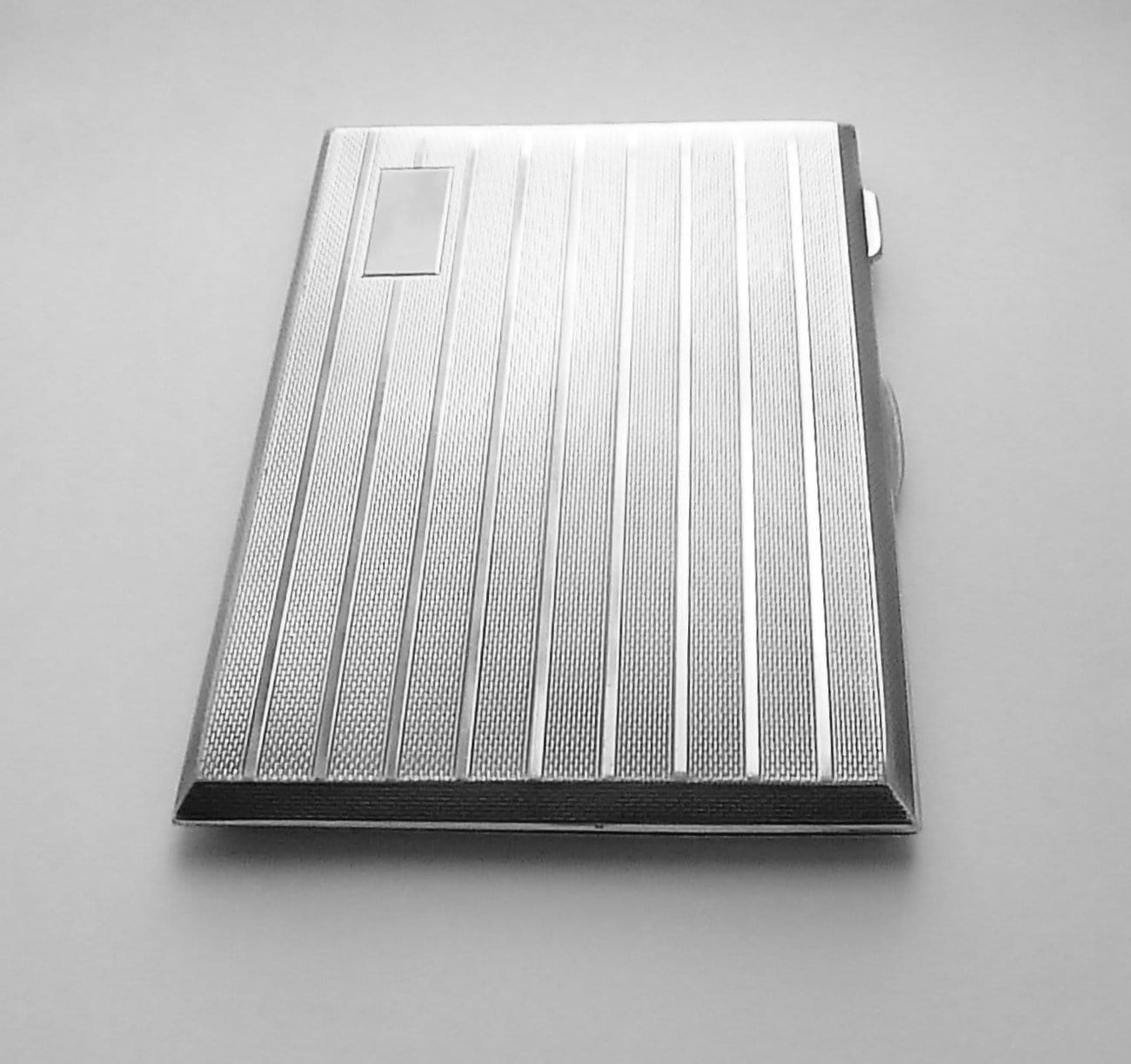 Large solid silver cigarette cases long business card cases silversmith R.N.Hollings & Co. 1946