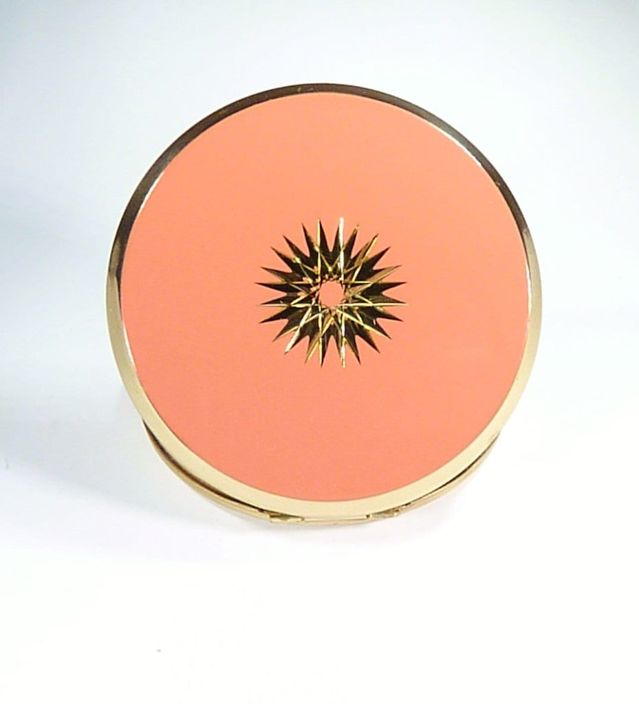 Peach & Gold Coloured Compact Mirror