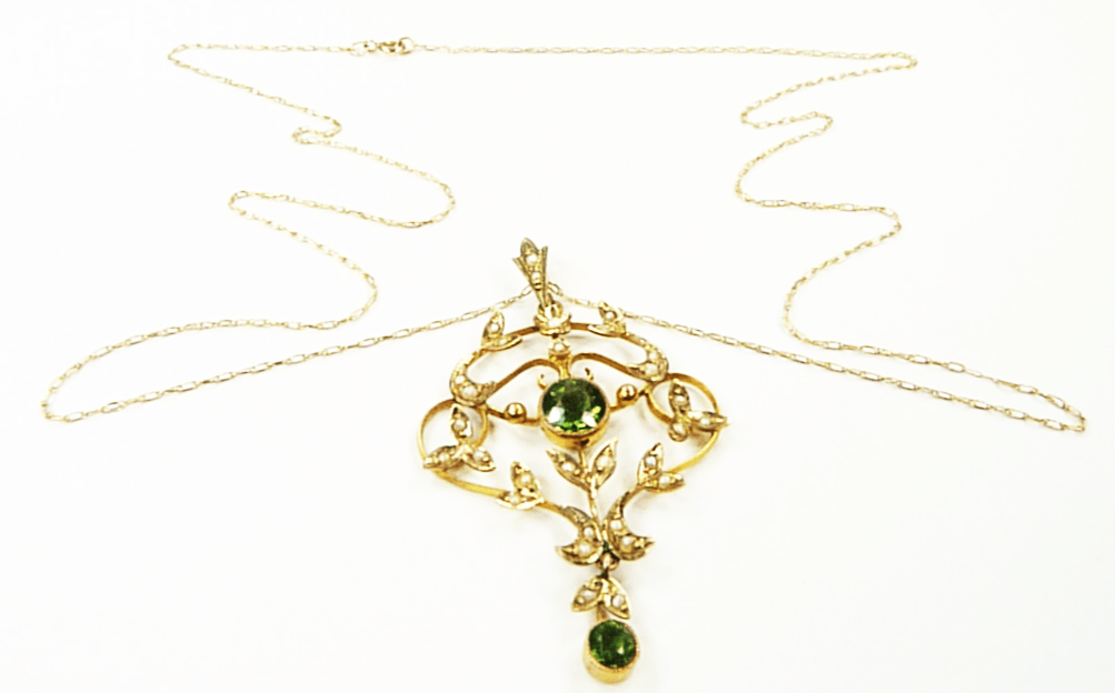 Peridot Gold And Pearl Necklace 1900s