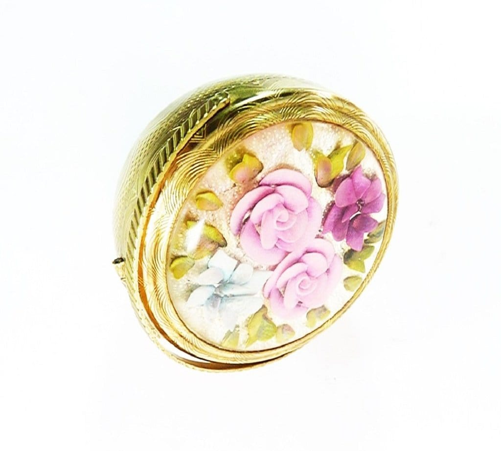 Pink Blue Flower Basket Makeup Compact
