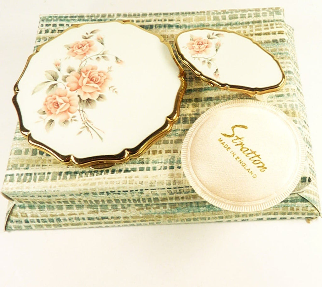 Pink White Stratton Compact Mirror Gift Set