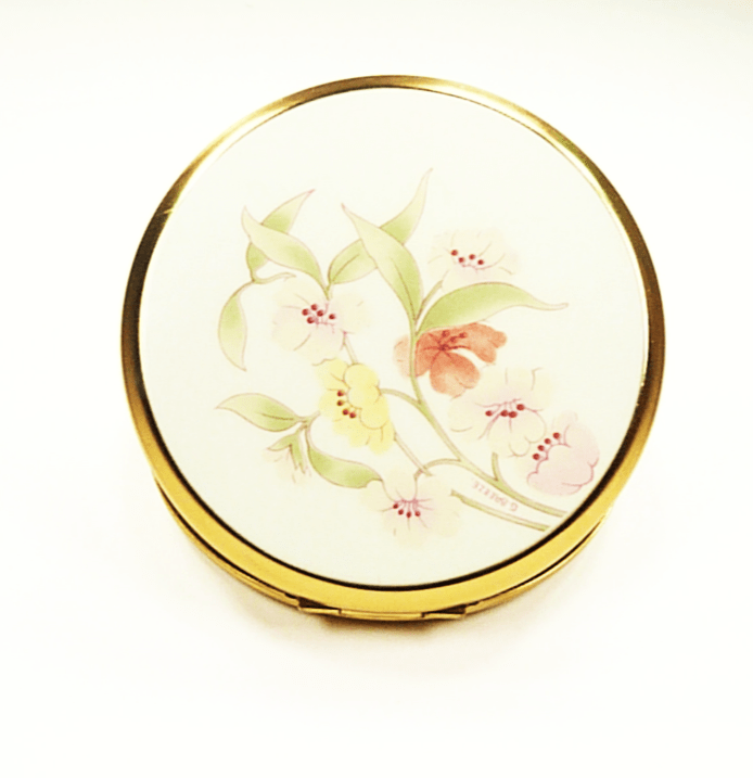 Purse Mirror Compact Pink Yellow Purple Flowers