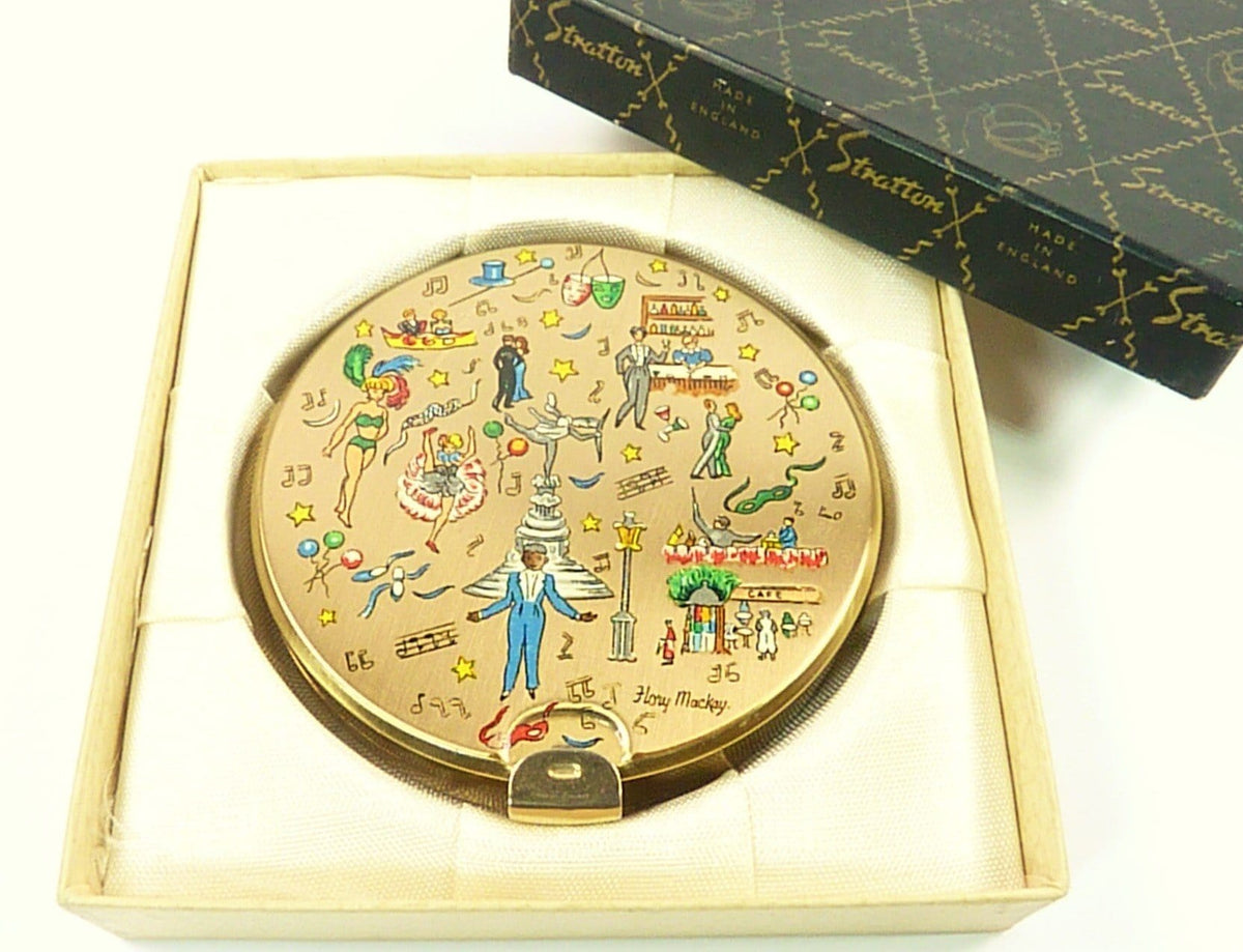 Rare Boxed 1950s Stratton Powder Compact