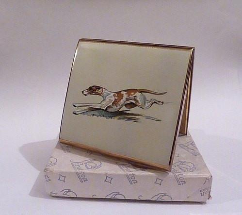 Rare Stratton Racing Greyhound Punt powder compact rare compact mirrors enamel compacts gifts for dog lovers 1940 / 1952 film props - The Vintage Compact Shop