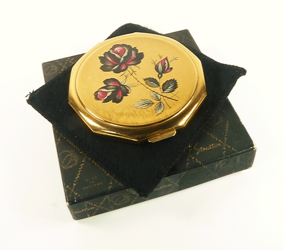 Red Black Gold Compact Mirror