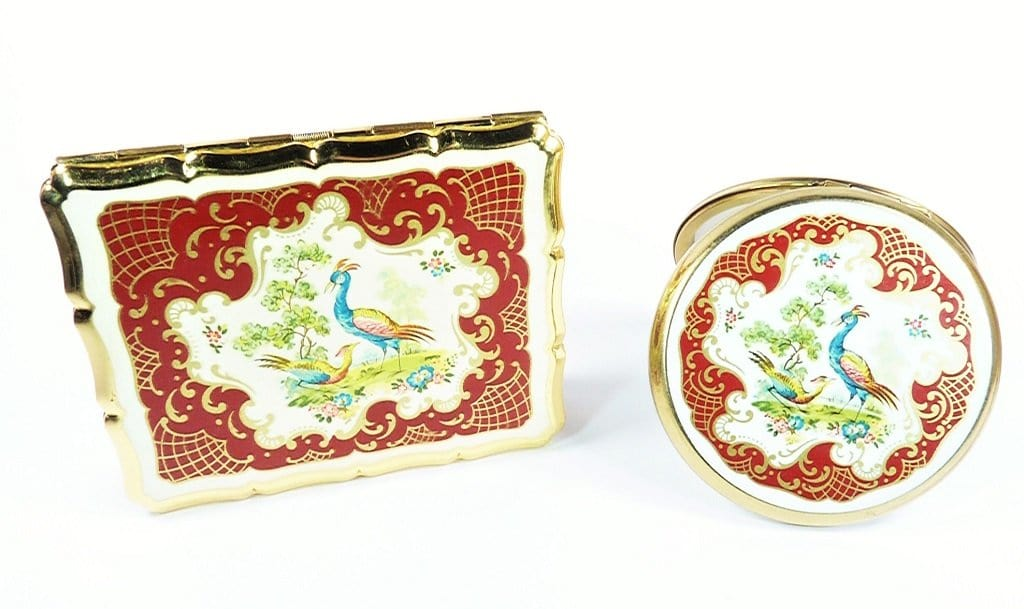 Red Business Card Case Matching Compact Mirror