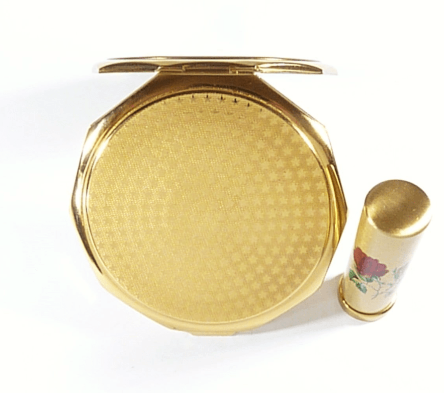 Red Rose Makeup Compact With Lipstick Set