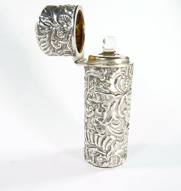 Repoussage Sterling 1800s Perfume Bottle
