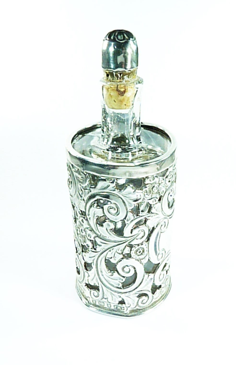 Silver And Glass Perfume Bottle