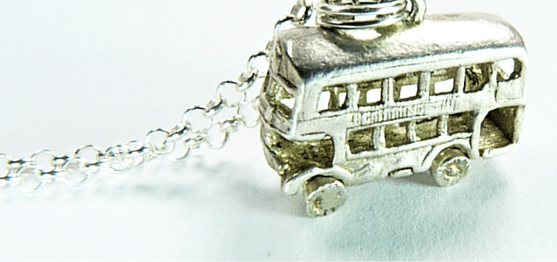 Sterling Silver 1960s London Bus Pendant With 18 Inch Silver Necklace