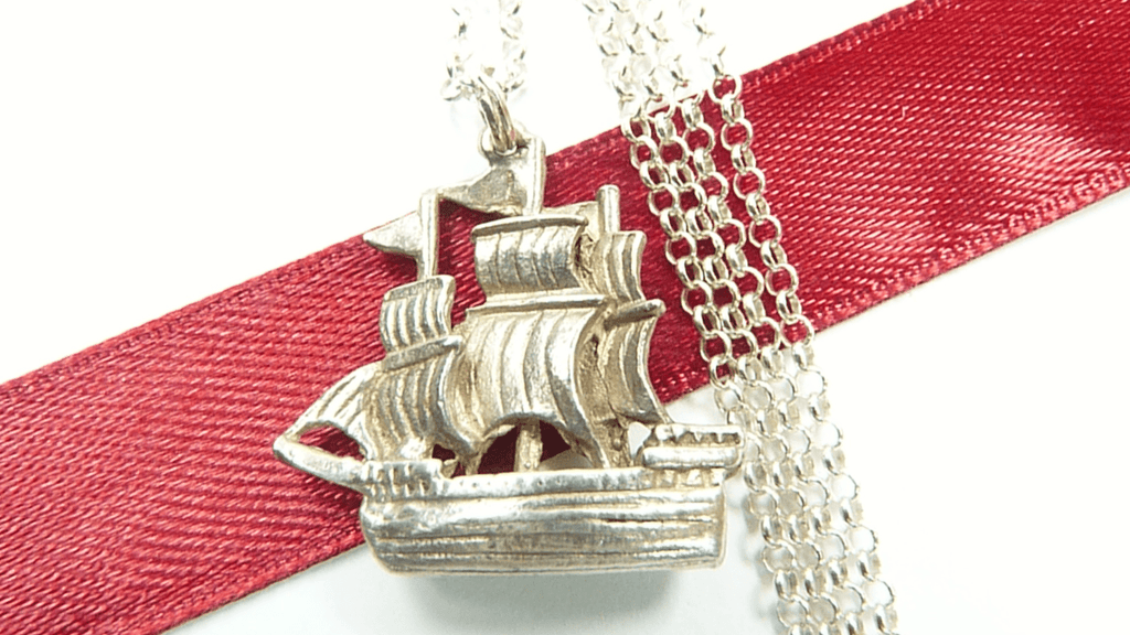 Silver Ship Pendant With Hallmarked Necklace