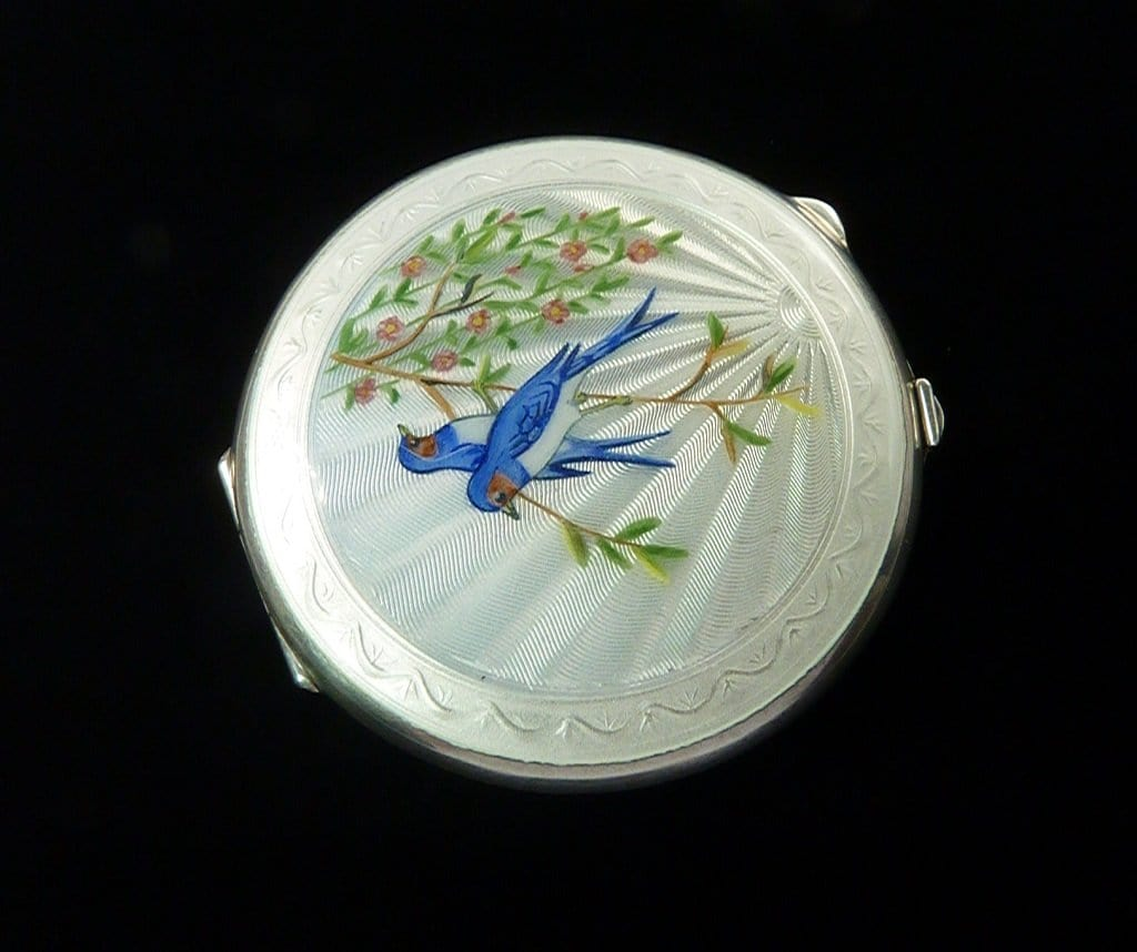 Silver Hallmarked Compact Mirror With Blue Birds