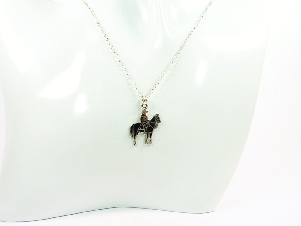 Silver Necklace With Canadian Mountie Pendant