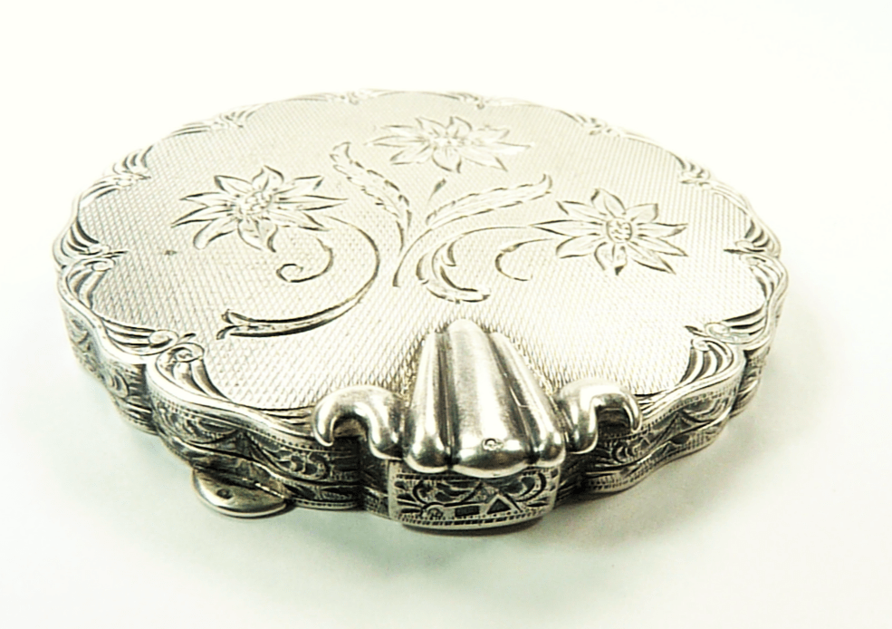 Solid Silver Antique Compact Mirror