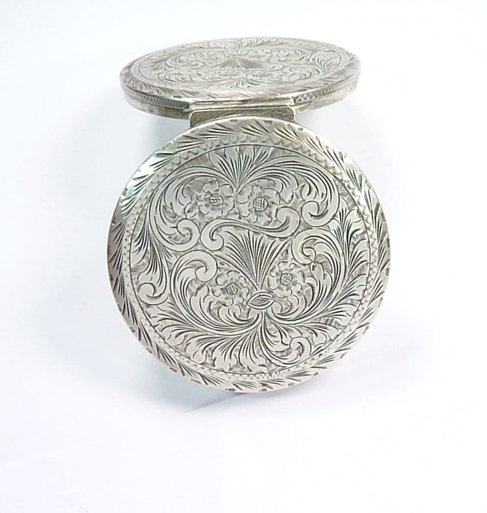 Solid Silver Compact Mirror Bright-Cut Engraving