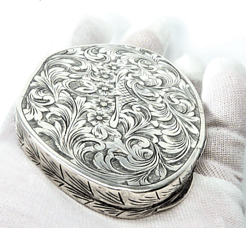 Solid Silver Engraved Makeup Compact