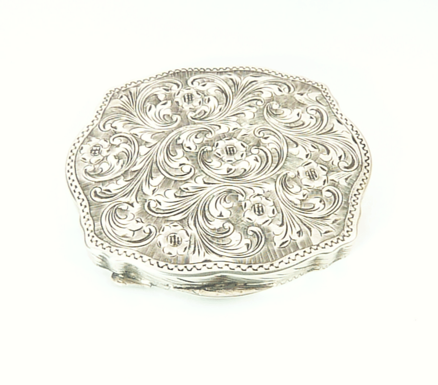 Solid Silver Makeup Compact With Mirror