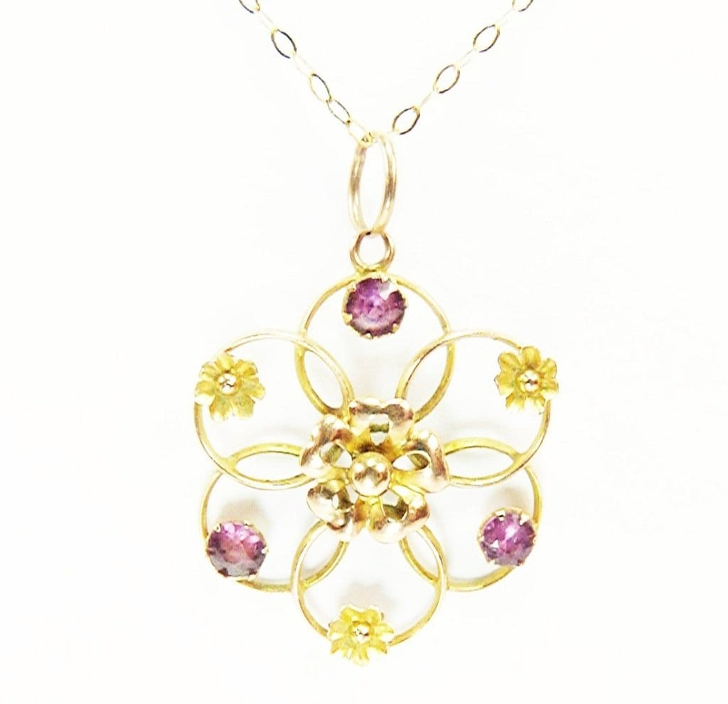 Solid Gold And Almadine Garnet Necklace