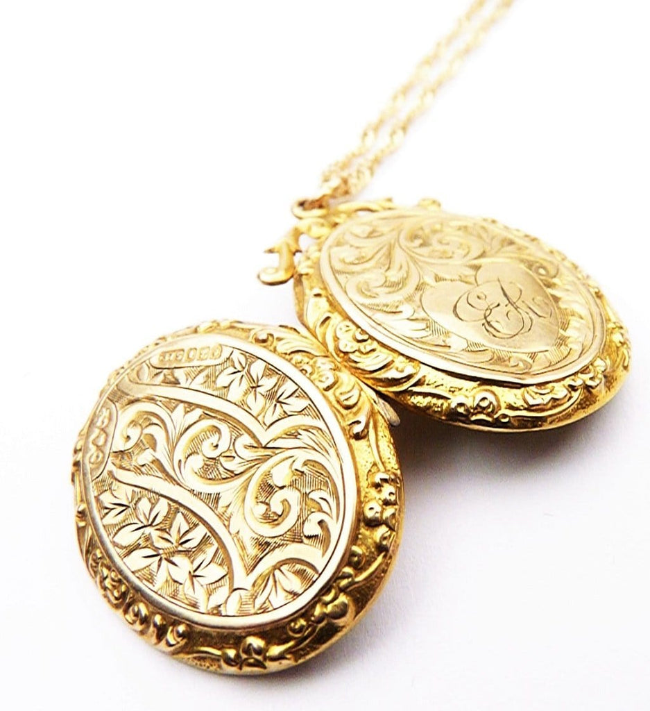 Solid Gold Antique Locket Ornate Scrollwork