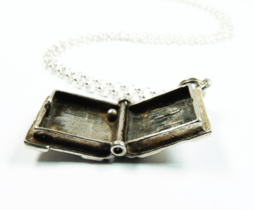 Solid Silver Bible Charm Necklace