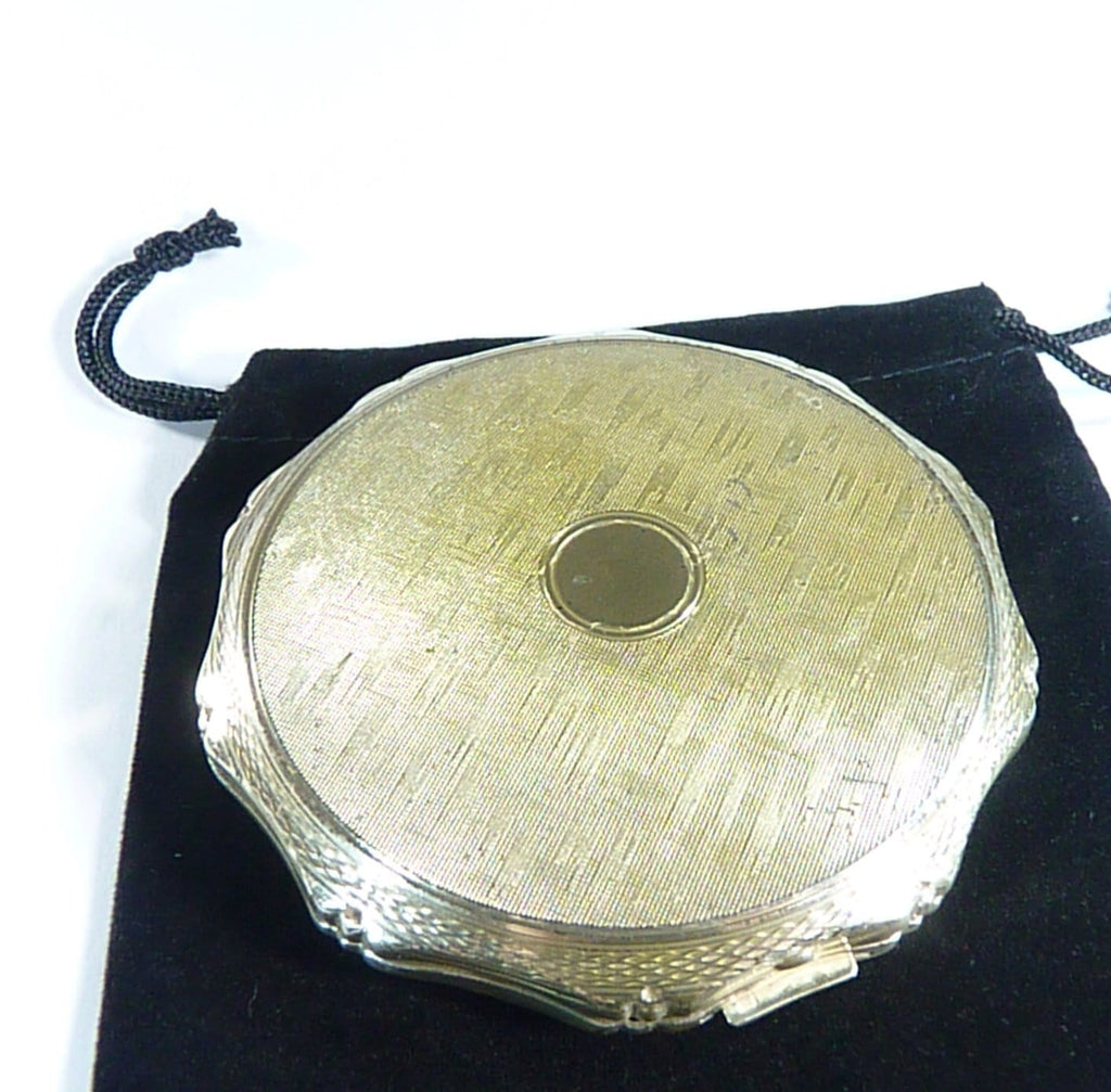 Solid Silver Compact Case With Mirror