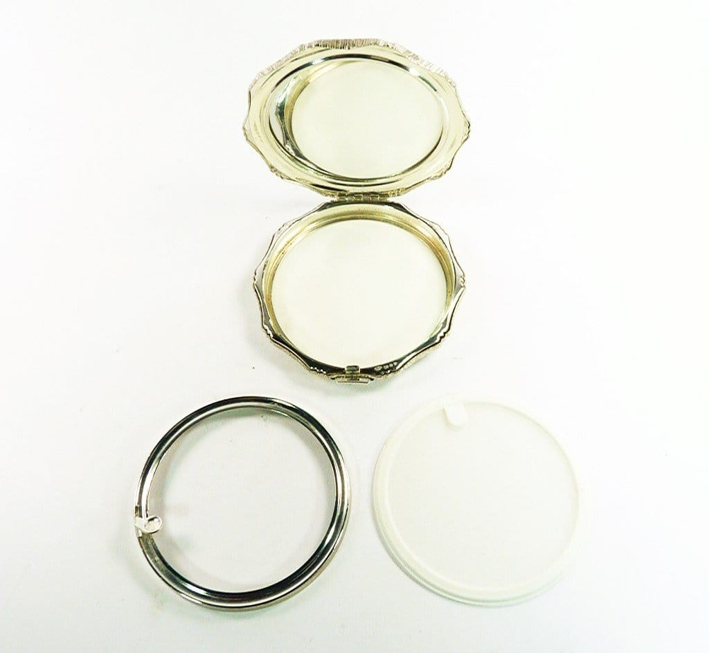 Solid Silver Compact Mirror For Loose Face Powder
