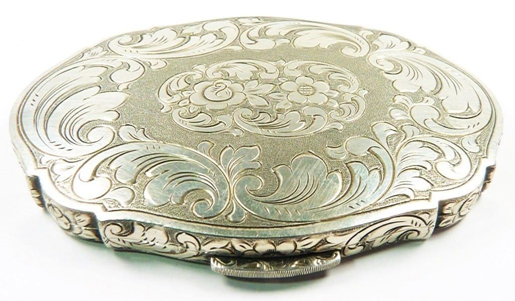 Solid Silver Makeup Compact For Loose Powder