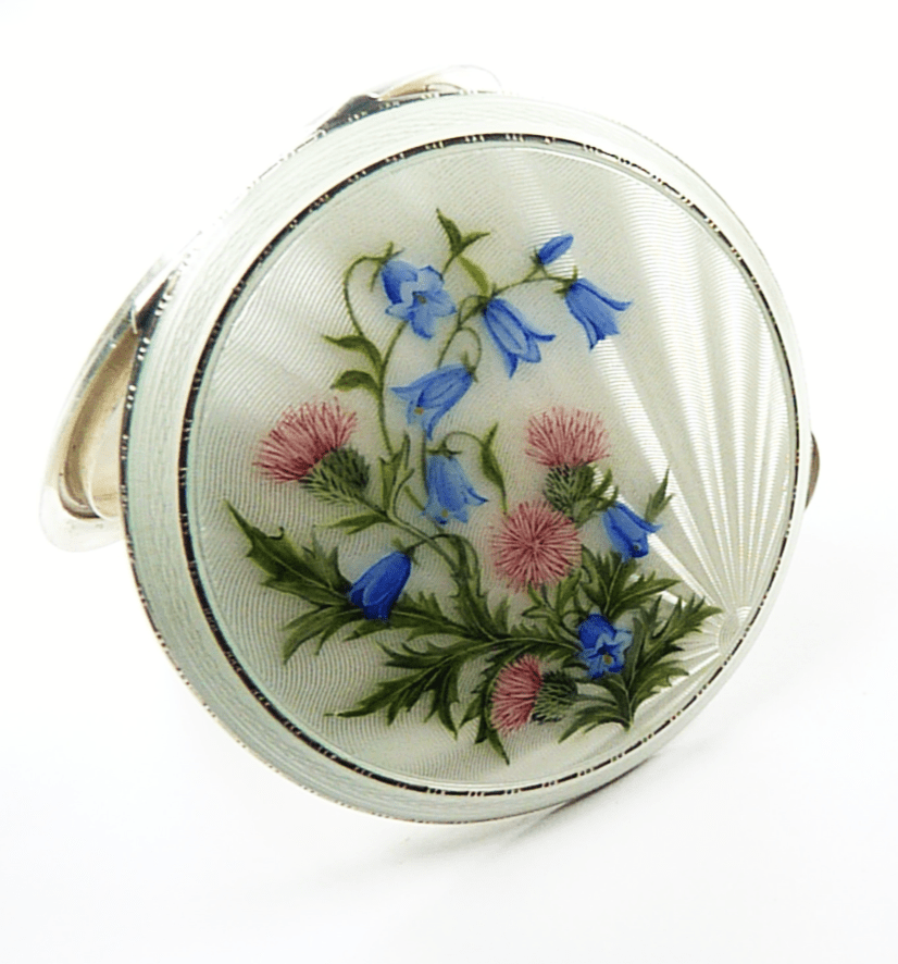 Sterling Silver And Enamel Luxury Makeup Compact