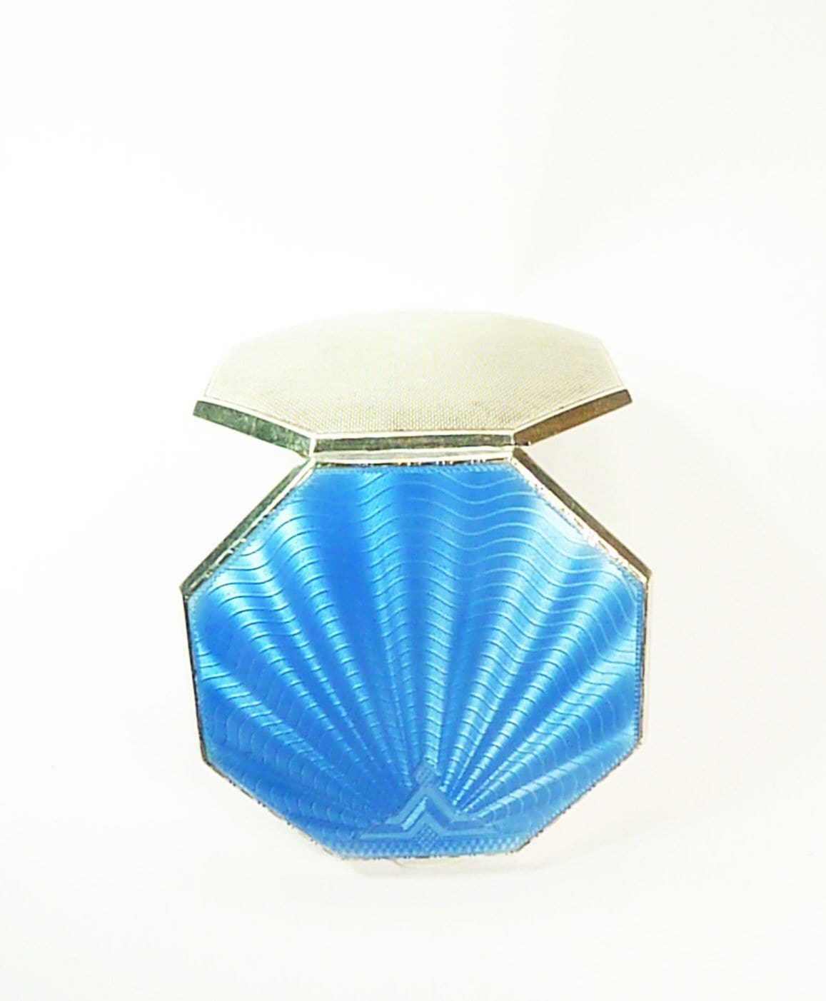Sterling Silver Guilloche Enamel Compact Mirror 1920s