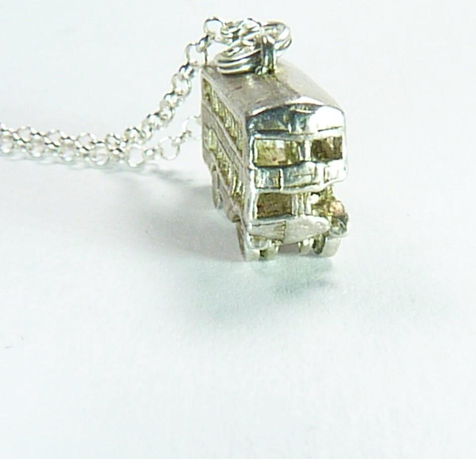 Sterling Silver Necklace With London Bus Pendant