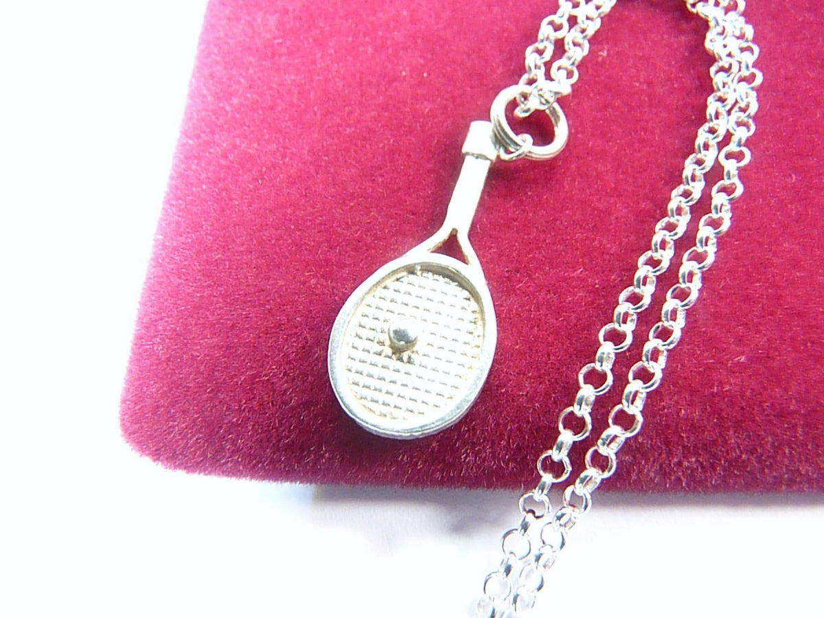 Sterling Silver Tennis Racket Pendant Necklace 18 Inches