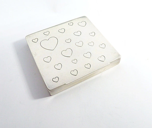 Sterling Compact Engraved 21 Hearts