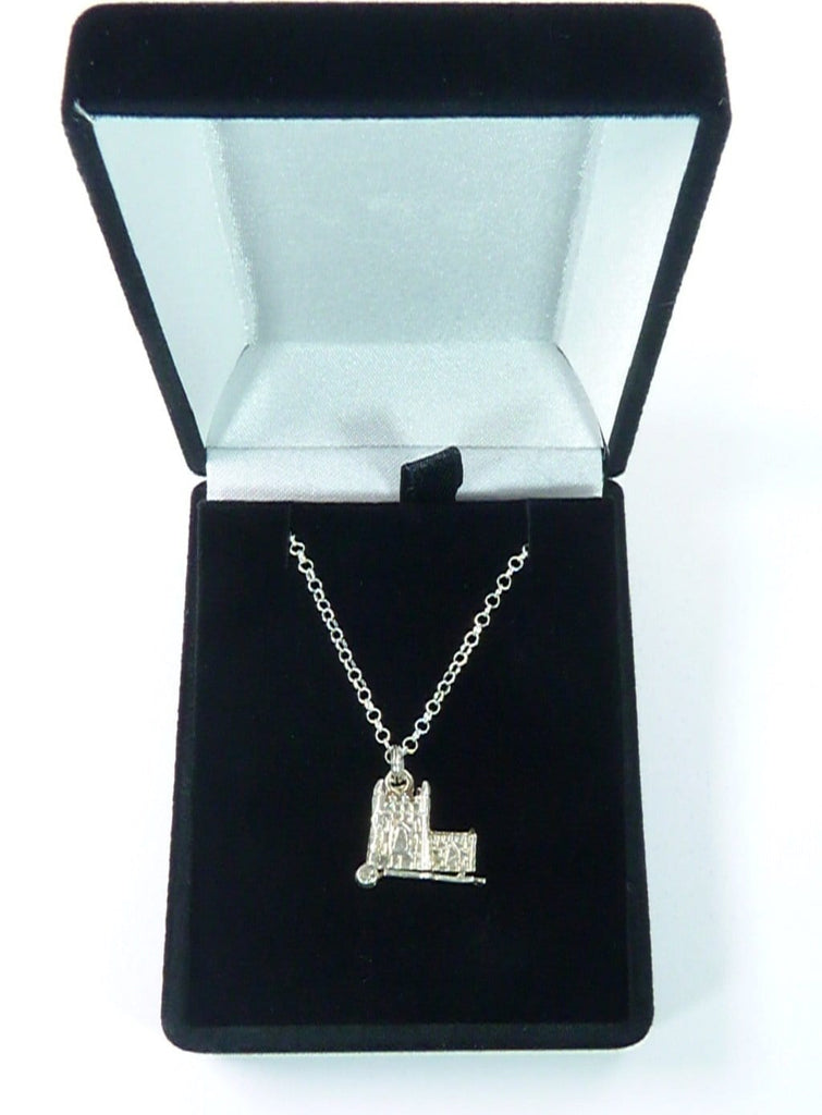 Sterling Silver 18 Inch Necklace With Wedding Church Pendant