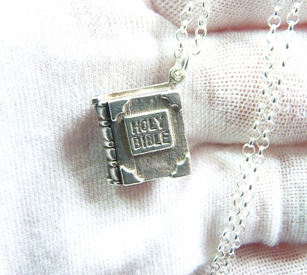 Sterling Silver Bible Charm Necklace