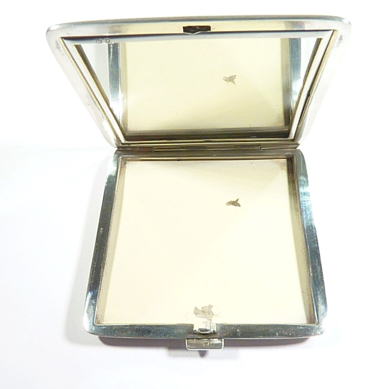 Sterling Silver Hallmarked Engraved Compact Case With Mirror