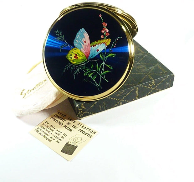Stratton Butterfly Powder Compact 1950s Unused