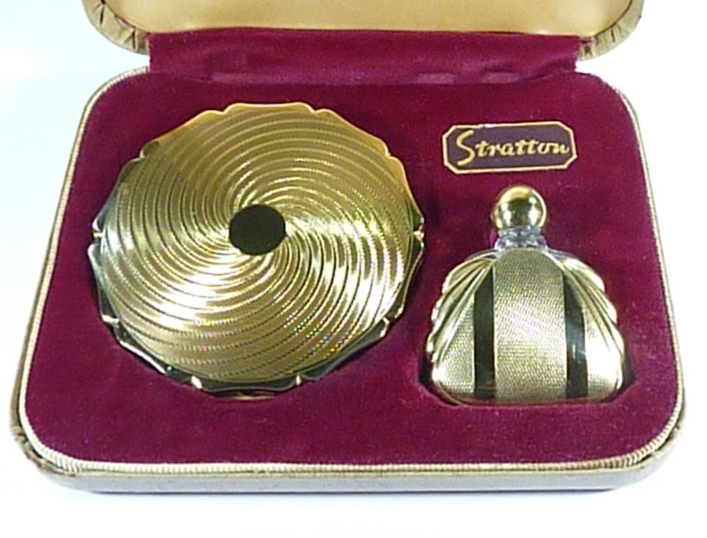 Stratton Compact And Perfume Bottle Cased Set