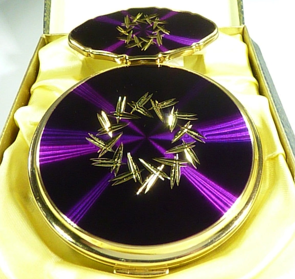 Stratton Compact & Lipstick Set Purple Enamel