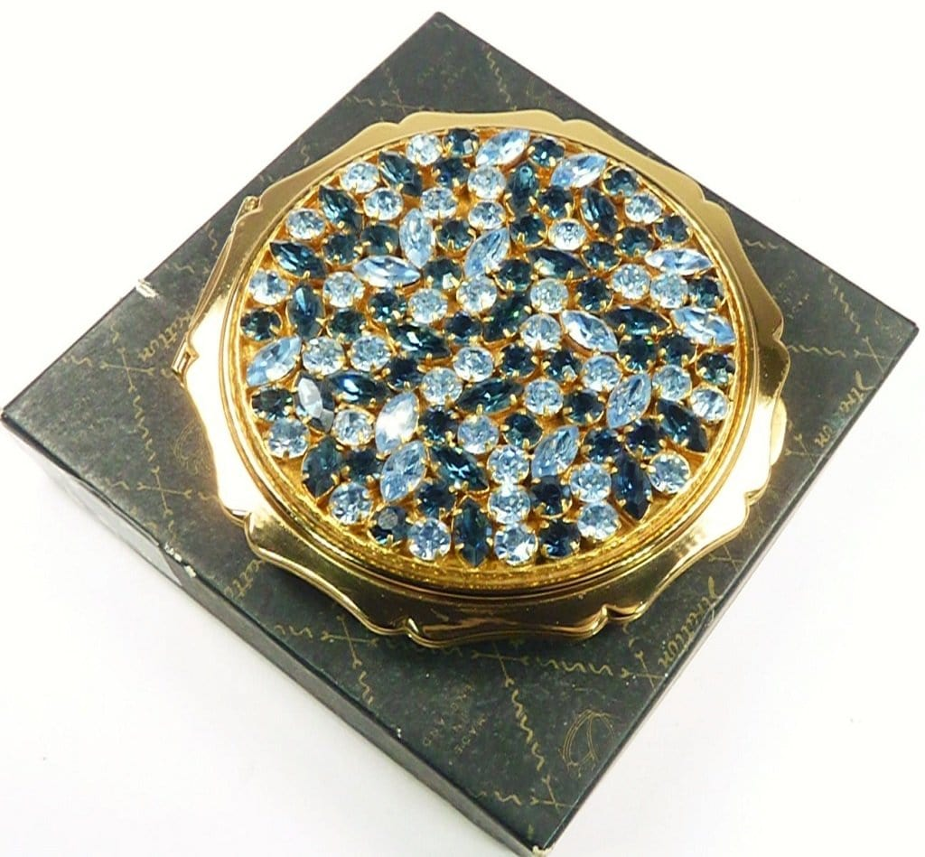 Stratton Paste Blue Gem Set Compact Mirror