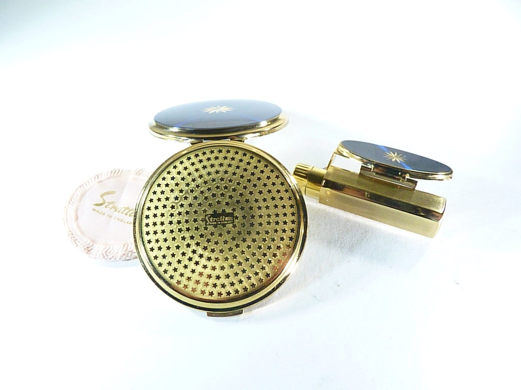 Stratton blue enamel compact and lipstick holder vintage