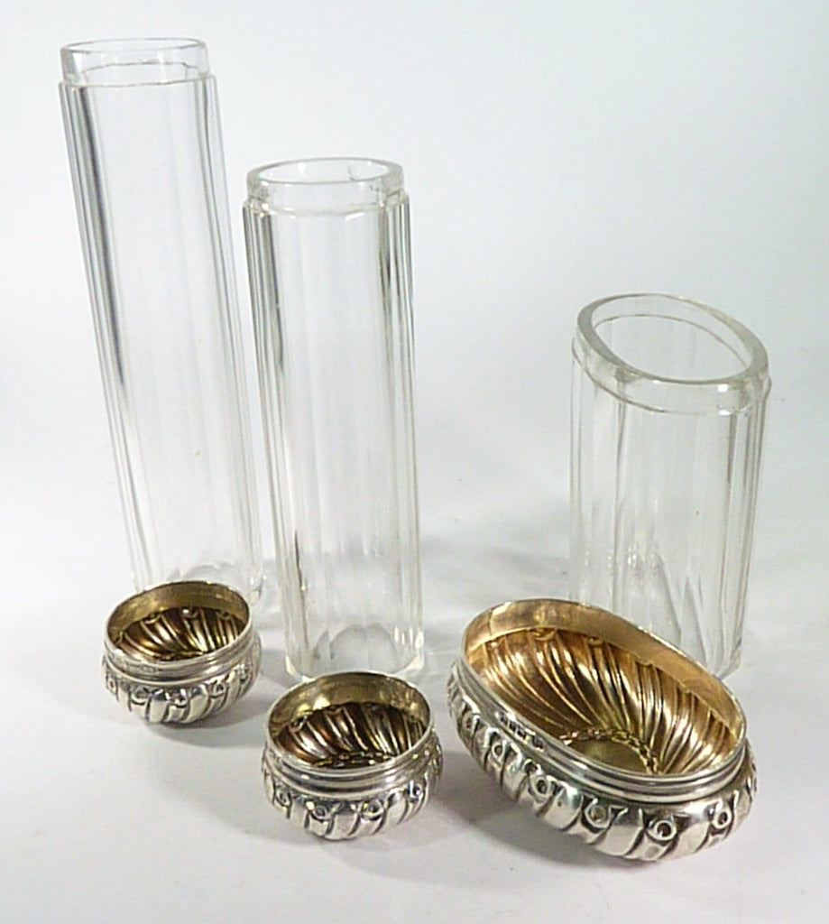 Tall Fluted Vanity Jars