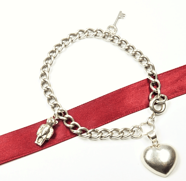 Teddy Bear Heart Charm Bracelet