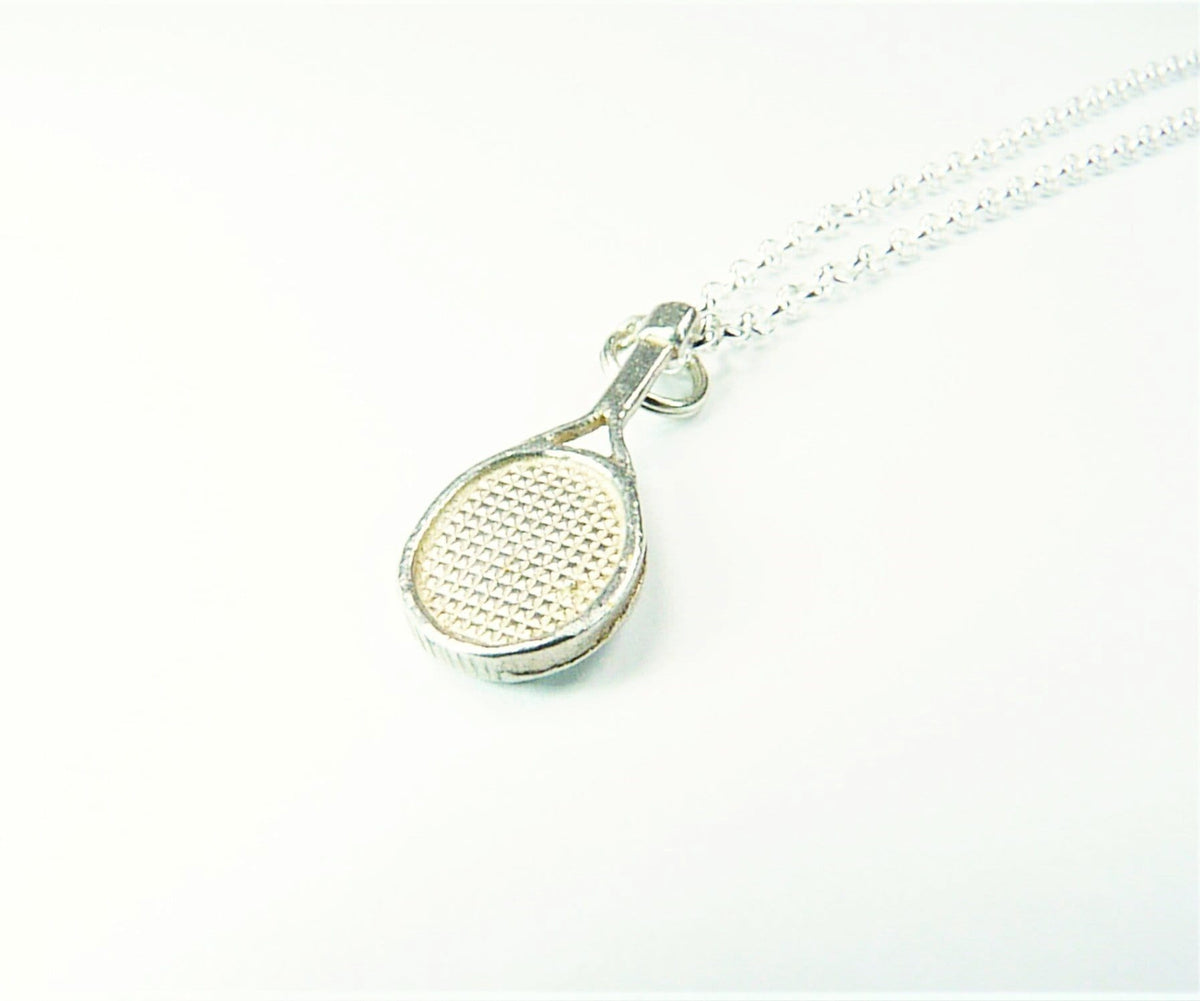 Tennis Necklace Racket And Ball Solid Silver