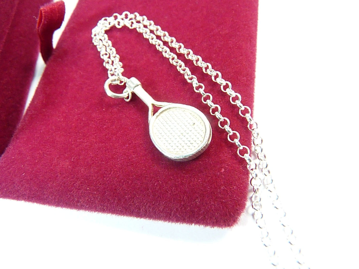 Tennis Racquet Pendant And Hallmarked Silver 18 Inch Chain