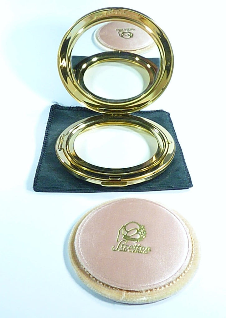UNUSED Black Enamel Large Pancake Stratton Compact Mirror