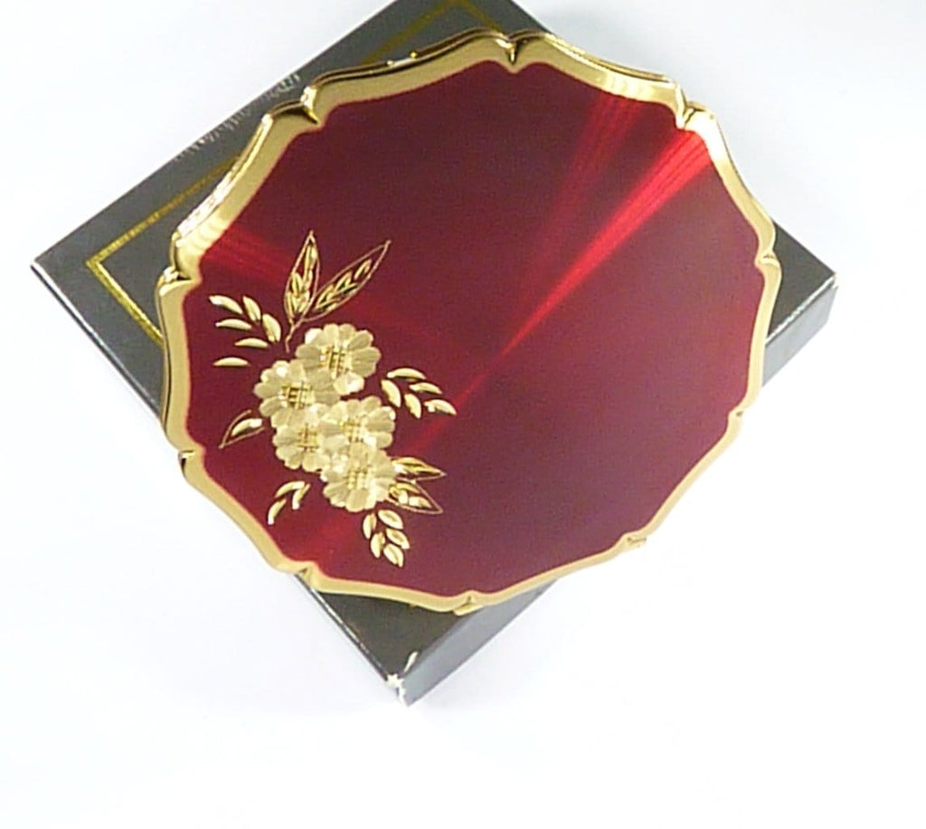 Unused Boxed Red Enamel Stratton Powder Compact Late 1980s