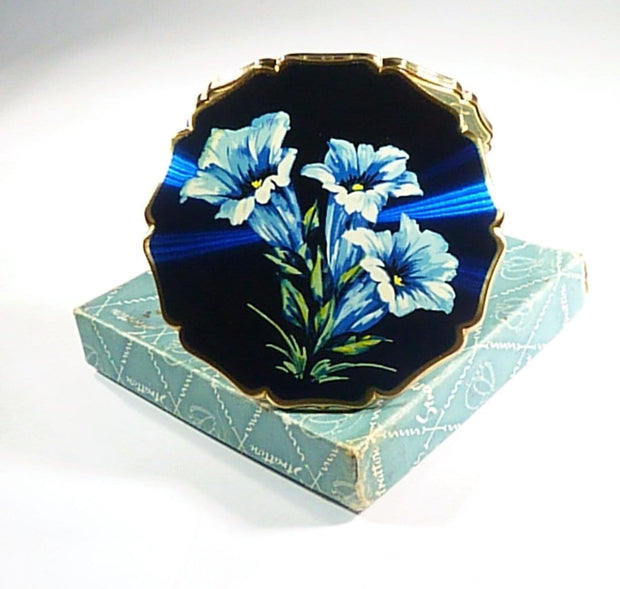 Unused 1950s Blue Enamel Stratton Compact Mirror