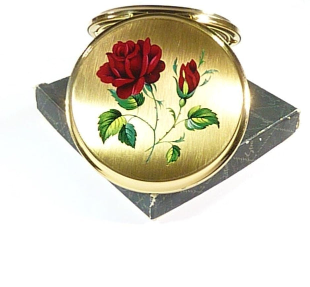 Unused STRATTON Compact With Red Rose
