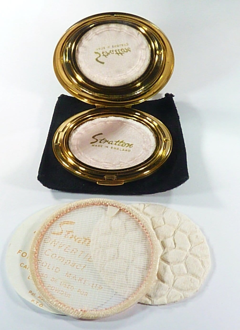 Unused Stratton Compact Mirror With Pouch Puff Sifter And Instructions