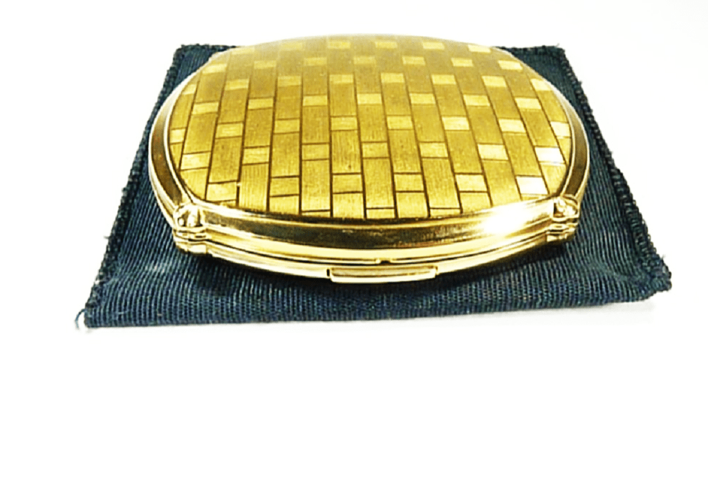 Unused Stratton Compact With Golden Squares Beautiful